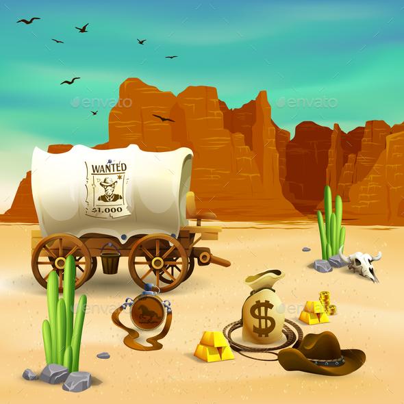 Cowboy Accessories Wild West Illustration - Landscapes Nature