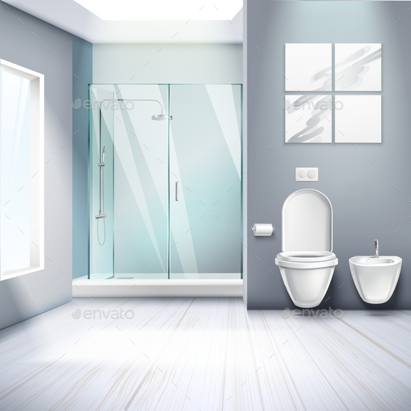 Simple Bathroom Interior Realistic Composition - Miscellaneous Vectors