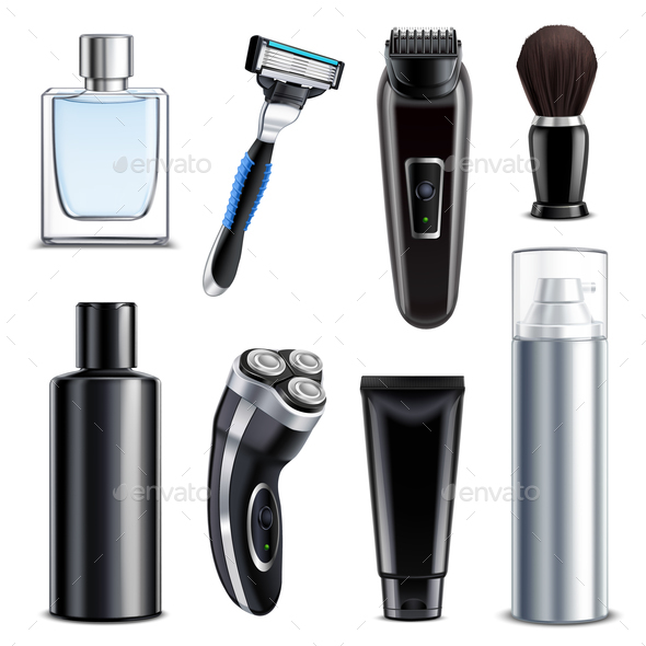 Shaving Equipment Realistic Set - Man-made Objects Objects