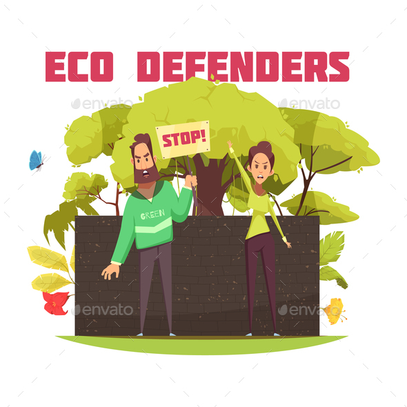 Eco Defenders Cartoon Composition - People Characters