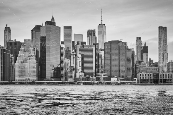 Manhattan skyline at sunset, New York. - Stock Photo - Images