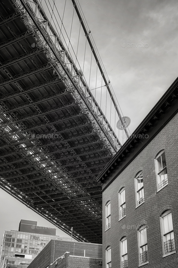 Under the Brooklyn Bridge, NYC. - Stock Photo - Images