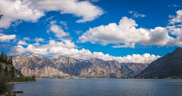 Stunning landscape of Bay of Kotor - Stock Photo - Images
