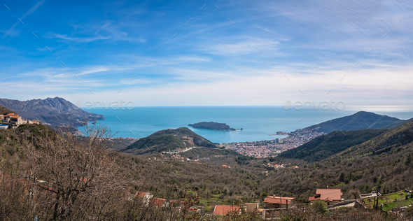 Panorama of the bay and Budva town - Stock Photo - Images