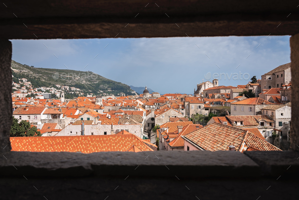 Rooftops of old houses in Dubrovnik - Stock Photo - Images