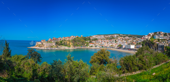 Panoramic view of the Old town of Ulcinj - Stock Photo - Images