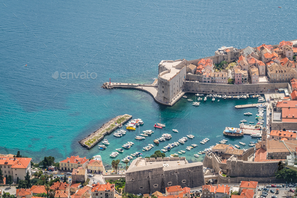 Aerial view of the Dubrovnik old town marina - Stock Photo - Images