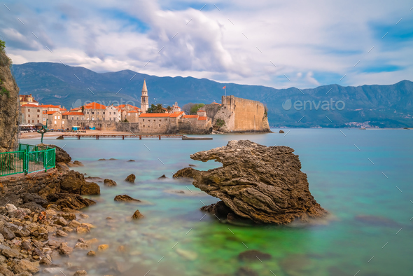 Beautiful Adriatic sea coast around Budva - Stock Photo - Images