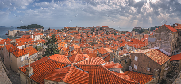 Panorama of Dubrovnik Old Town - Stock Photo - Images