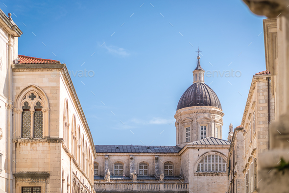 Church tower dome in Dubrovnik Old Town - Stock Photo - Images