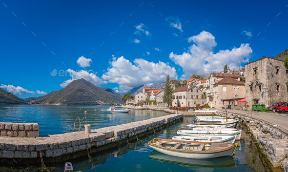 Panoramic view of Perast town - Stock Photo - Images