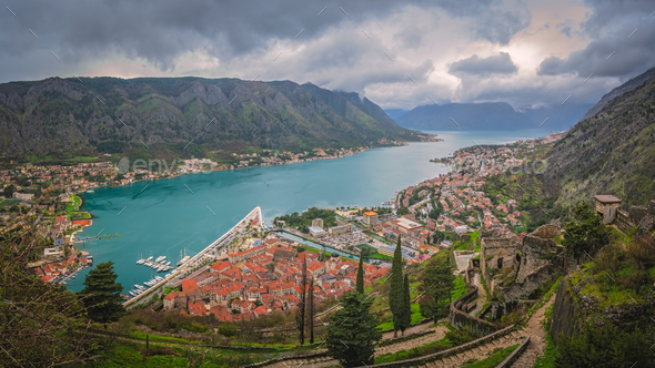 Panorama of Kotor in Montenegro - Stock Photo - Images