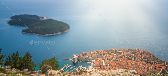 Dubrovnik Old Town seen from above - Stock Photo - Images