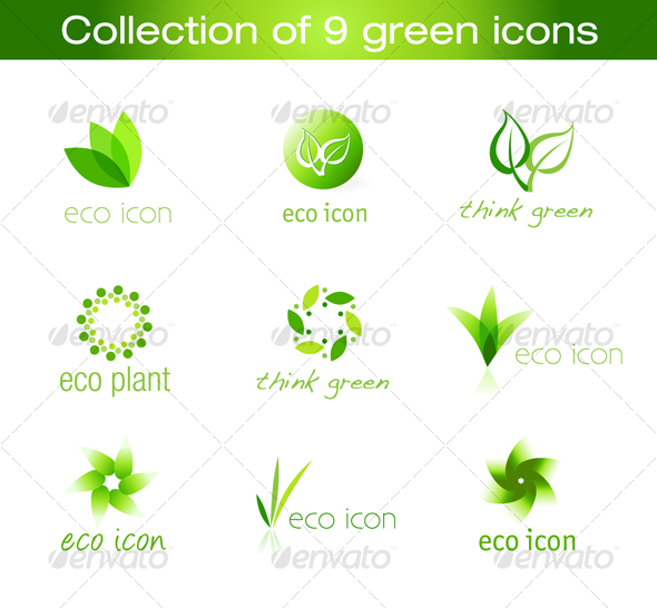 Collection of 9 vector green icons - Web Icons