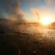 Eruption of Geyser in Iceland. Winter Cold Colors, Sun Lighting Through the Steam - VideoHive Item for Sale