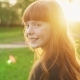 Happy Girl with Red Hair Walking, Looking Into Camera and Smiling at Sunset - VideoHive Item for Sale