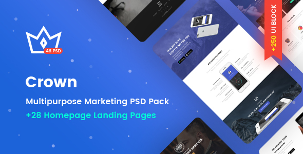 Crown – Multipurpose Marketing PSD Landing Page Pack