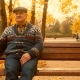 Old Man Is Waiting for His Daughter in the Autumn Park - VideoHive Item for Sale