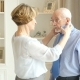 Happy Older Couple, Older Wife Helps To Put On a Tie For Her Elderly Husband - VideoHive Item for Sale