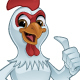 Cartoon Rooster Giving a Thumbs Up