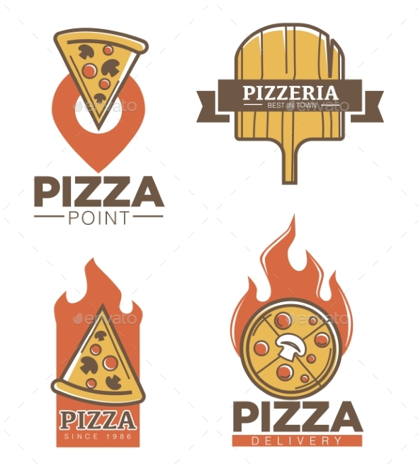 Italian Pizzeria and Pizza Delivery Promo Emblems - Miscellaneous Vectors