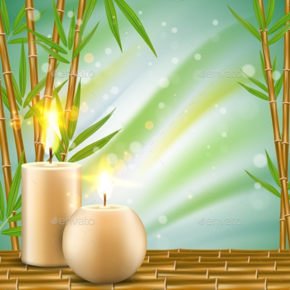 spa background with bamboo and aroma candles by siberianart