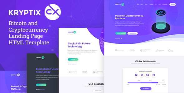 Kryptix - Bitcoin & Cryptocurrency Landing Page HTML Template