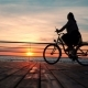 Wonderful Sunrise or Sunset Above Ocean. Silhouette of Young Stylish Girl Cycling on Vintage Bike on - VideoHive Item for Sale