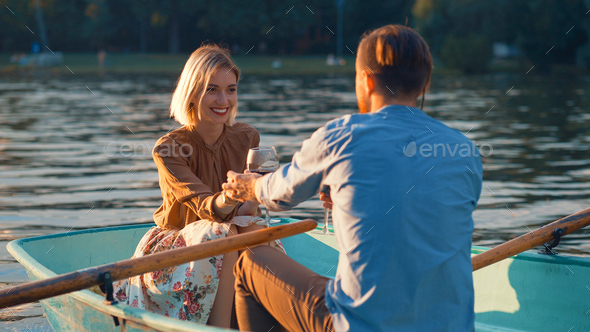 Young couple on a romantic date - Stock Photo - Images