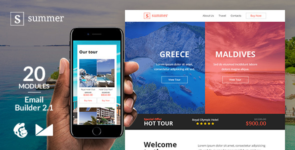 Image of Summer Responsive Email Template + Online Emailbuilder 2.1