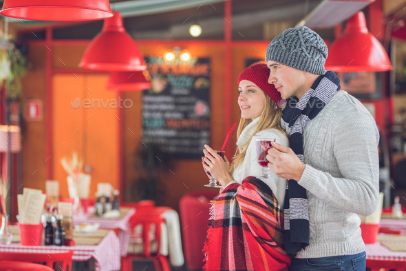 Young couple at Christmas - Stock Photo - Images