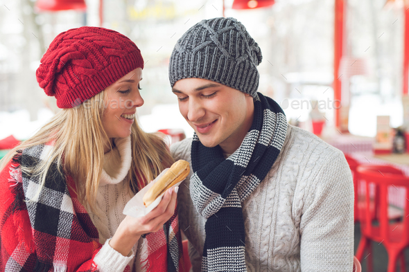 Young smiling couple on a date - Stock Photo - Images