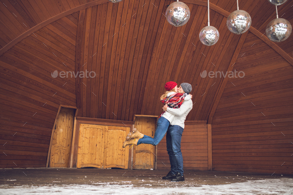 Young couple in winter - Stock Photo - Images