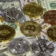 Bitcoin, Litecoin, Ethereum and Dash Coins, BTC, LTC, ETH, DASH and Bills of Dollars Are Rotating - VideoHive Item for Sale