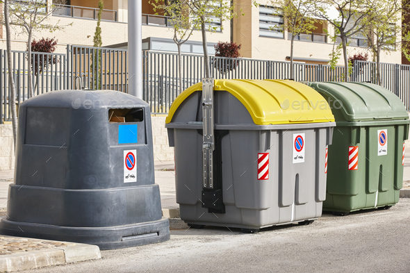 Containers for recycle paper plastic and organic. Waste segregation. Garbage - Stock Photo - Images