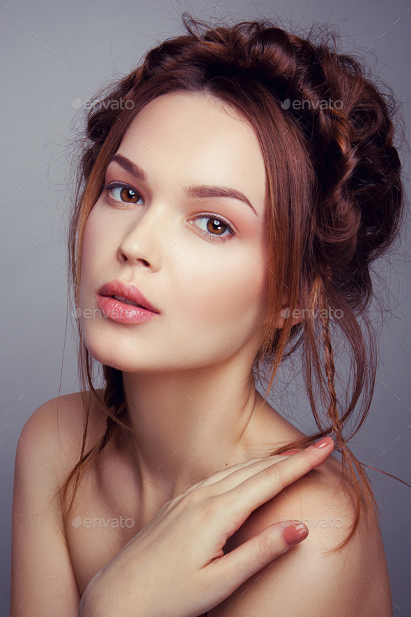 Beauty fashion model girl with bright makeup - Stock Photo - Images
