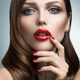 Portrait of beautiful girl with red lips. - PhotoDune Item for Sale