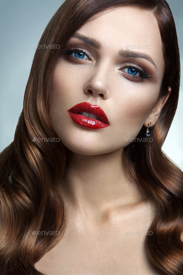 Portrait of beautiful girl with red lips. - Stock Photo - Images