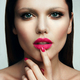 Portrait of beautiful girl with pink lips. - PhotoDune Item for Sale