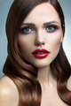 Portrait of beautiful girl with red lips.