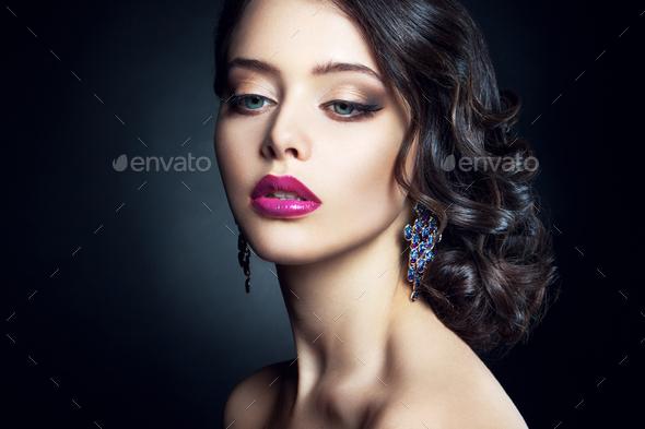 Close-up studio portrait of beautiful woman. - Stock Photo - Images