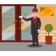Cheerful Doorman Standing in Front of Hotel - GraphicRiver Item for Sale