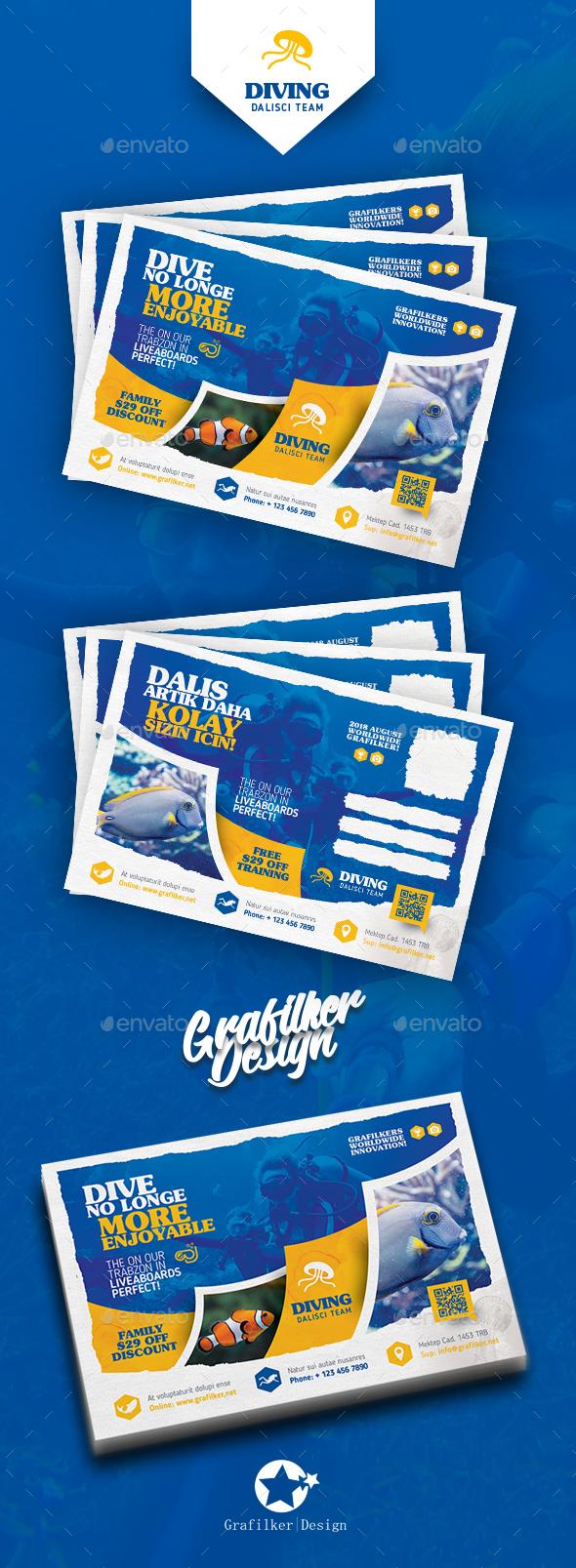 Ocean Diving Postcard Templates - Cards & Invites Print Templates