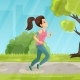 Young Girl Running in the Park Vector Flat