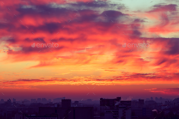 Orange sunset - Stock Photo - Images