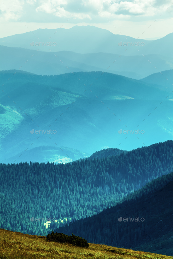 Mountain range  in summer - Stock Photo - Images