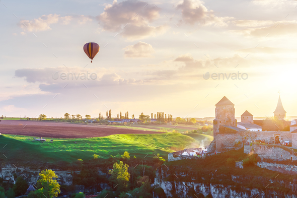 Castle in Kamianets Podilskyi and air balloon - Stock Photo - Images