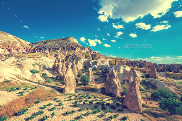 Spectacular rocks formations in Cappadocia - Stock Photo - Images