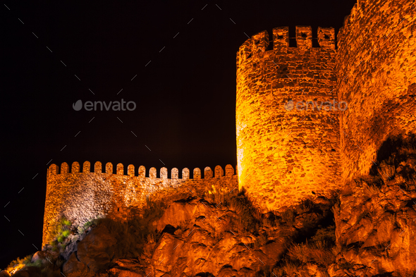 Rabati Castle at night in Akhaltsikhe - Stock Photo - Images