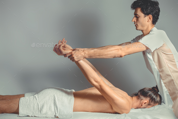 Massage stretching therapy. - Stock Photo - Images